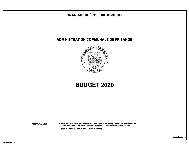 Budget rectifié 2019 et budget 2020 - Version définitive et approuvée par le Ministère de l'Intérieur le 31.01.2020