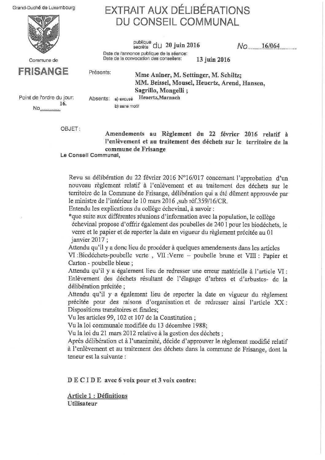 Règlements sur traitement des déchets (1)